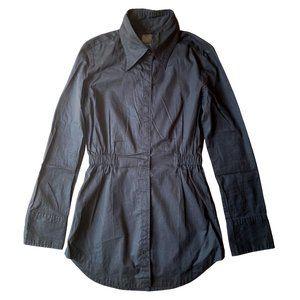 MOUSSY PINSTRIPE LONG BLACK SHIRT DRESS